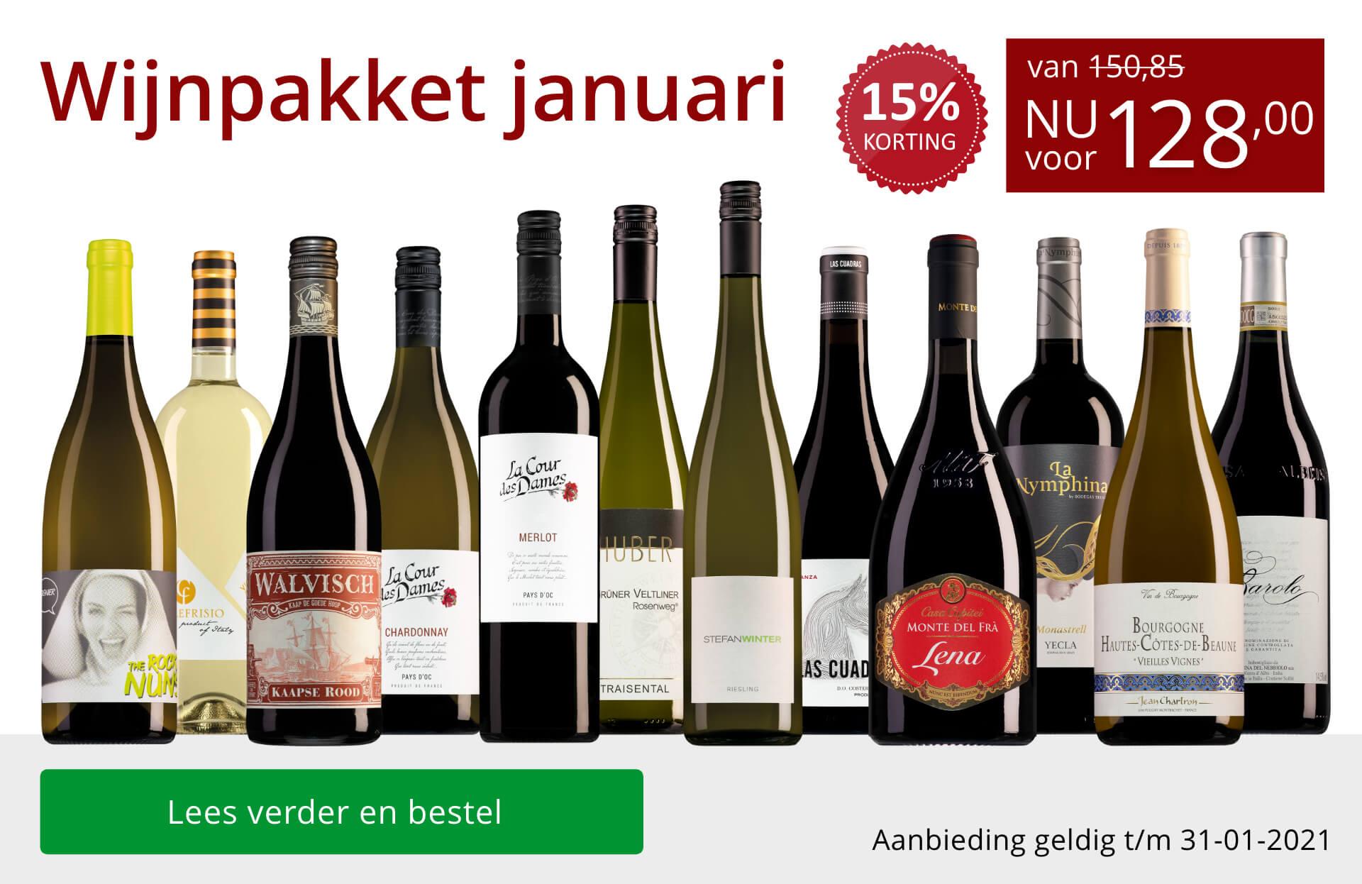 Wijnpakket wijnbericht januari 2021 (128,00) - rood